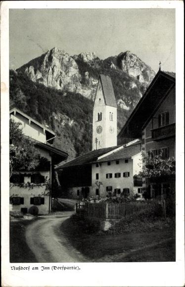Ak Nußdorf am Inn Oberbayern, Dorfteil, Kirche, Alpenpanorama
