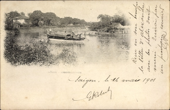 Ak Saigon Cochinchine Vietnam, Arroyo Chinois, bateau