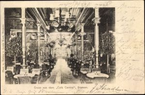 Ak Hansestadt Bremen, Cafe Central, Innenansicht, Tische, Stühle