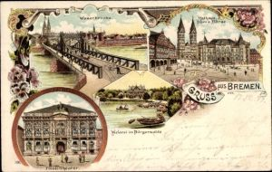 Litho Hansestadt Bremen, Weserbrücke, Rathaus, Dom, Börse, Tivoli Theater