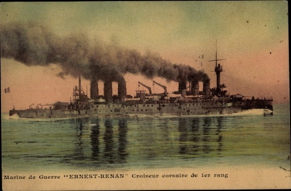 Ak Marine de Guerre, Ernest Renan, Croiseur, Französisches Kriegsschiff
