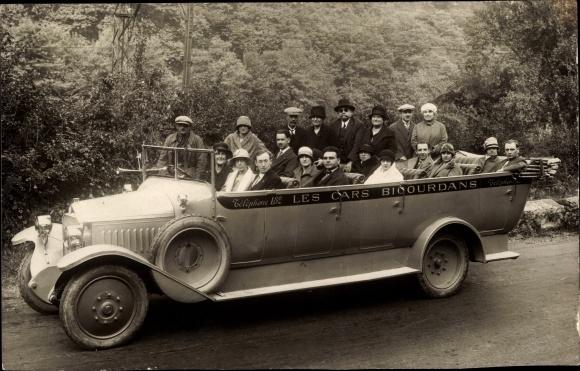 Foto Ak Les Cars Bicourdans, Bus mit offenem Verdeck, Passagiere