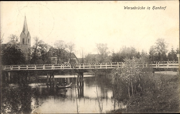 Ak Handorf Niedersachsen, Wersebrücke, Wasserpartie, Kirchturm