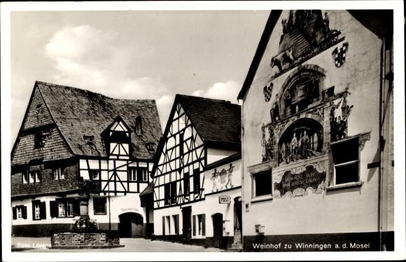Ak Winningen an der Mosel, Weinhof, Wandgemälde, Post, Weinhexenhaus, Weinbrunnen