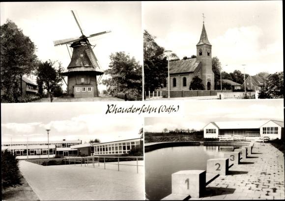 Ak Rhauderfehn in Ostfriesland, Windmühle, Kirche, Schule, Freibad