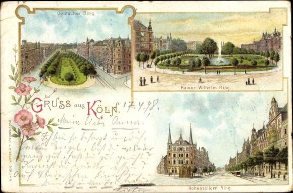 Litho Köln am Rhein, Ansichten, Kaiser Wilhelm Ring,  Hohenzollernring, Deutscher Ring