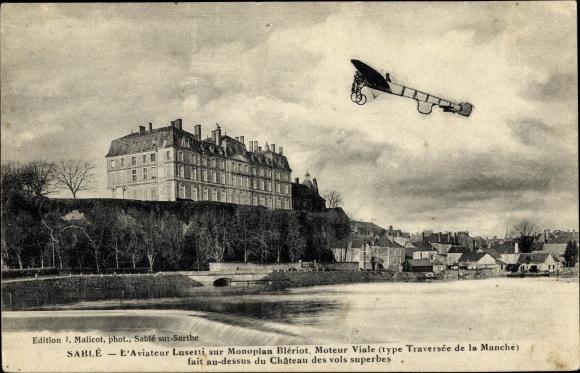 Ak Sable Sarthe, Stadtansicht, Flugzeug, Aviateur, Gebäude, Flusspartie