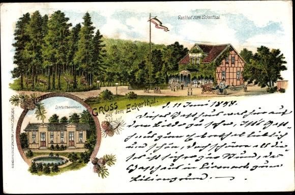 Litho Eckertal Bad Harzburg in Niedersachsen, Lichtlufthäuschen, Gasthof zum Eckertal