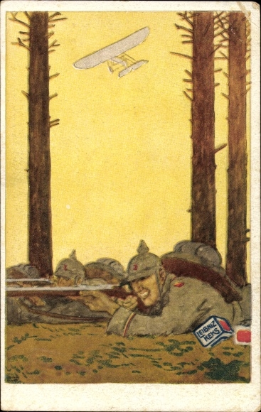 Künstler Ak Deutsche Infanteristen am Gewehr, Militärflugzeug, Leibniz Keks, I. WK