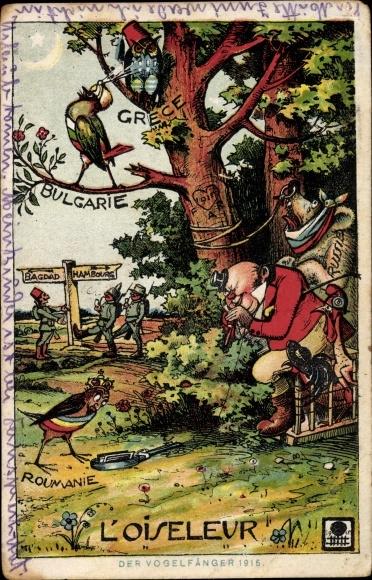 Künstler Ak L'Oiseleur, Vogelfänger, England, Russland, Rumänien, Bulgarien, Griechenland, I. WK
