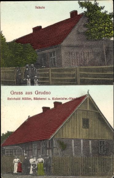 Ak Grudno Petersgrund Bolków Bolkenhain Schlesien, Schule,Bäckerei und Kolonialwaren Reinhold Müller