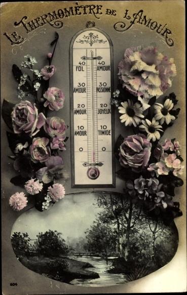 Ak Le Thermomètre de l'Amour, Thermometer der Liebe