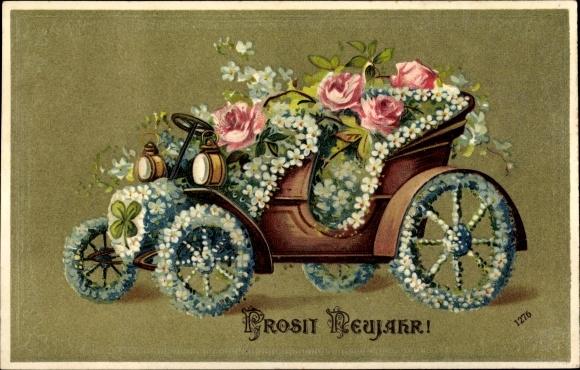 Präge Litho Glückwunsch Neujahr, Automobil mit Blumen geschmückt, Kleeblatt, Rosen