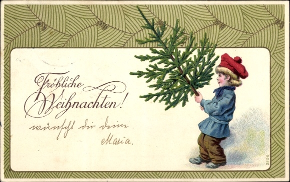Passepartout Präge Litho Glückwunsch Weihnachten, Junge mit Tannenbaum