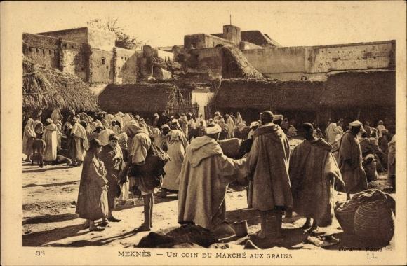 Ak Meknès Marokko, Un coin du Marché aux Grains, Marktleben, Levy & Fils 38