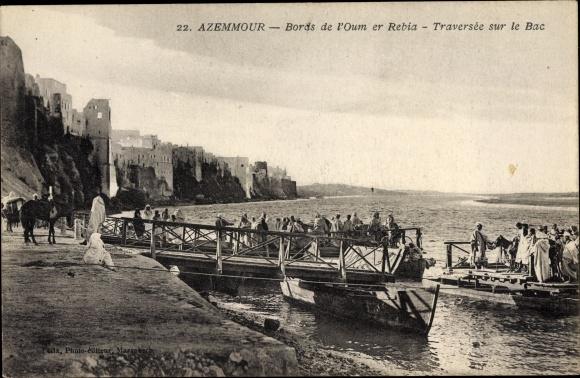 Ak Azemmour Marokko, Bords de l'Oum er Rebia, Traversée sur le Bac, Fähre