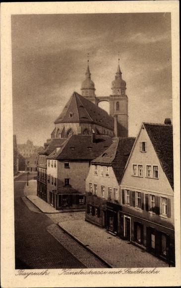 Ak Bayreuth in Oberfranken, Kanzleistraße mit Stadtkirche, Häuserfassaden, Geschäfte