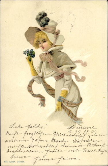 Litho Blonde Frau mit Hut und langem Kleid, Schal, Veilchen