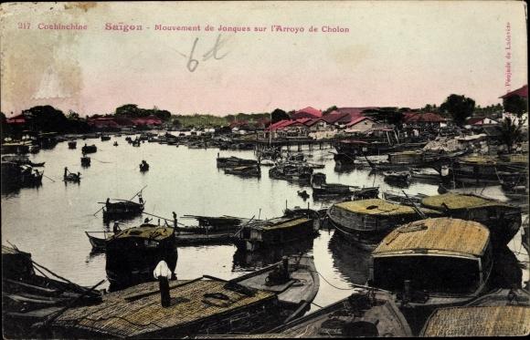 Ak Saigon Cochinchine Vietnam, Mouvemenr de Jonques sur l'Arroyo de Cholon