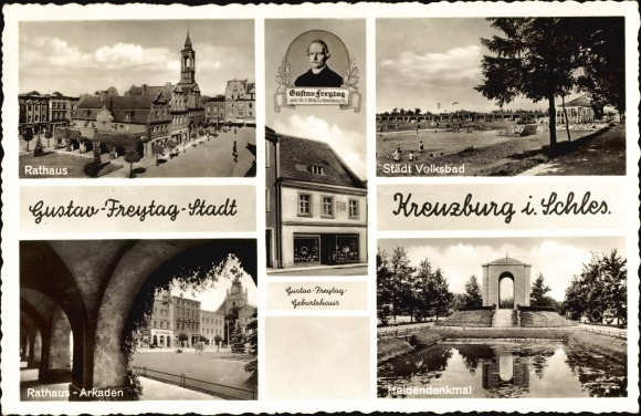 Ak Kluczbork Kreuzburg Oberschlesien, Gustav Freytag Stadt, Rathaus, Heldendenkmal