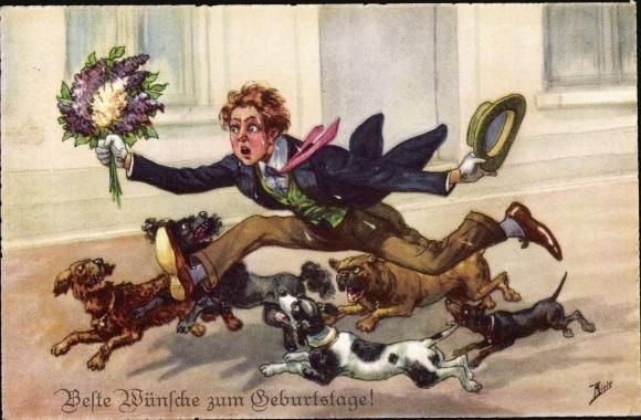 Künstler Ak Thiele, Arthur, Gratulant mit Blumenstrauß, Hunde