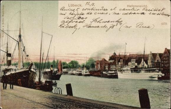 Ak Lübeck in Schleswig Holstein, Hafenansicht, Schiffe