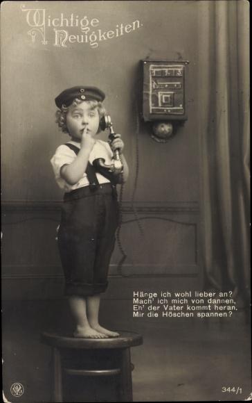 Ak Wichtige Neuigkeiten, Hänge ich wohl lieber an, Junge am Telefon, NPG 344 1