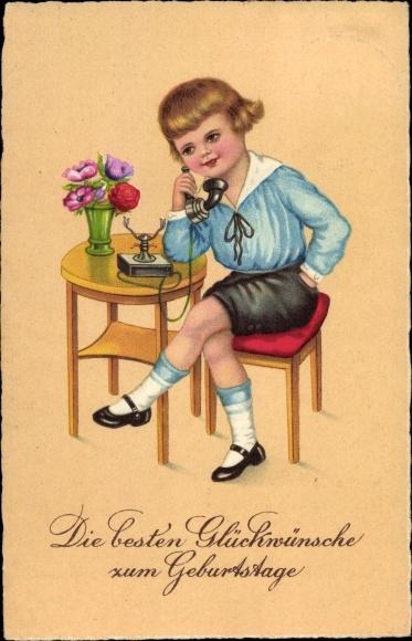 Ak Glückwunsch Geburtstag, Blondes Kind am Telefon, Blumenstrauß in einer Vase