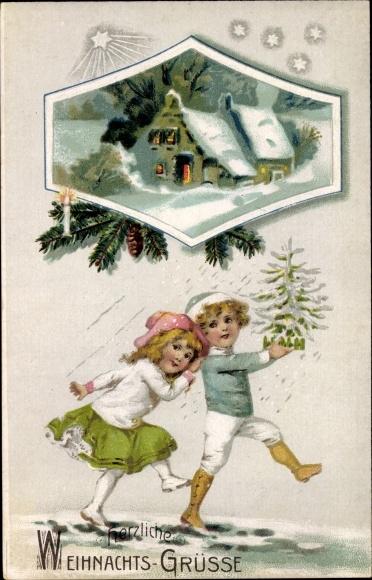 Passepartout Präge Litho Glückwunsch Weihnachten, Junge und Mädchen mit Tannenbaum, Haus