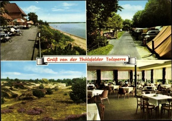 Ak Thüle Friesoythe Niedersachsen, Hotel Seeblick, Thülsfelder Talsperre, Zeltplatz, Heide