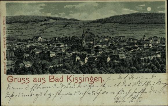 Mondschein Litho Bad Kissingen Unterfranken Bayern, Gesamtansicht von der Stadt