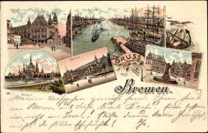 Litho Hansestadt Bremen, Gerichtsgebäude, Freihafen, Markt, Parkhaus