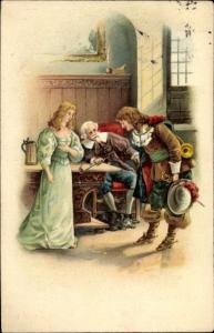 Präge Litho Trompeter von Säckingen stellt sich Familie von Schönau vor, Verbeugung