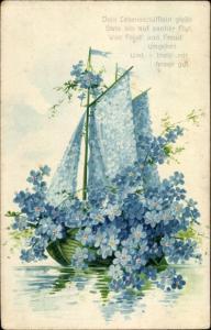 Präge Litho Lebensschifflein, Segelboot aus Vergissmeinnicht, Blumenbild