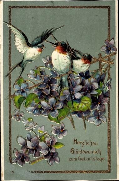 Präge Litho Glückwunsch Geburtstag, Veilchen, Schwalben auf einem Zweig