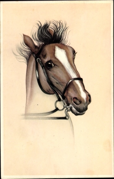 Künstler Ak Pferdeportrait, scheuendes braunes Pferd mit Blesse, Zaumzeug