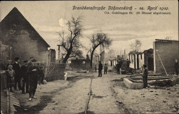 Ak Böhmenkirch in Baden Württemberg, Brandkatastrophe am 14. April 1910