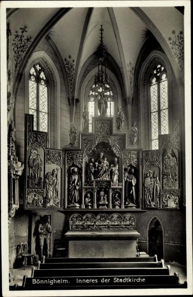 Ak Bönnigheim in Niedersachsen, Stadtkirche, Innenansicht, Altar