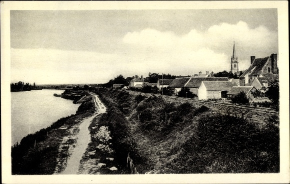 Ak Thésée Loir et Cher, Vue prise du Pont sur le Cher, Le Chemin de Halage et la ligne de Tours