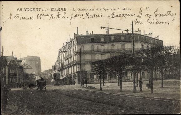 Ak Nogent sur Marne Val de Marne, La Grande Rue et le Square de la Mairie