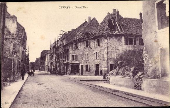 Ak Cernay Sennheim Elsass Haut Rhin, Grand'Rue, Kriegszerstörungen, I. WK