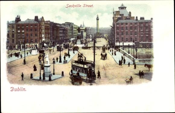 Ak Dublin Irland, Sackville Street, Panoramic view