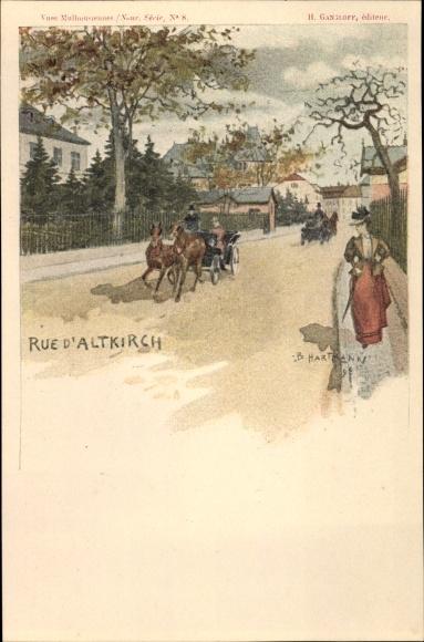 Künstler Ak Hartmann, B., Altkirch Elsass Haut Rhin, Straße mit Kutschen, Dame mit Schirm