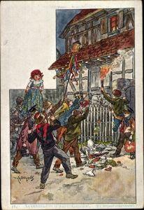 Künstler Ak Kauffmann, Usages et Costumes d'Alsace, Elsässer Trachten, Charivari de Sainte Catherine