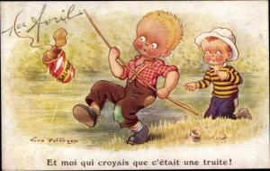 Künstler Ak Paterson, Vera, 1er Avril, 1. April, Kinder beim Angeln, Junge hat Dose gefangen