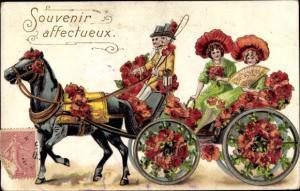 Präge Litho Souvenir affectueux, Kutsche mit Mohnblumen, Damen mit Fächer, Kutscher