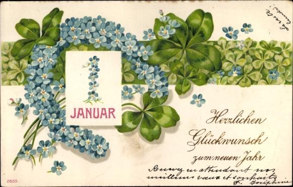 Präge Litho Glückwunsch Neujahr, Kalenderblatt 1. Januar, Hufeisen aus Vergissmeinnicht, Kleeblätter