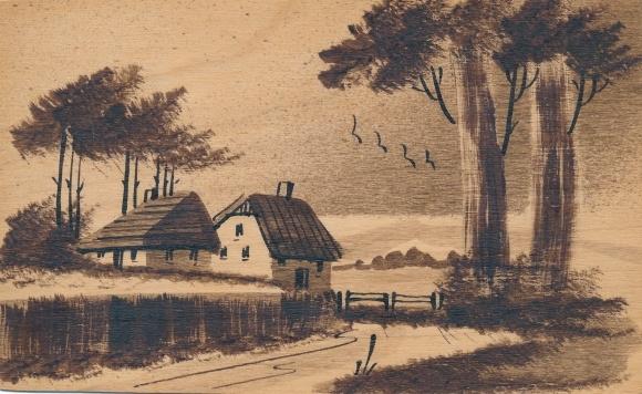 Handgemalt Holz Ak Landschaftsmotiv, Straße und Wohnhäuser, Bäume