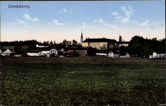 Ak Zangberg Oberbayern, Teilansicht des Ortes, Kirche, Wohnhäuser