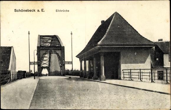 Ak Schönebeck an der Elbe, Auffahrt auf die Elbbrücke